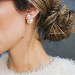 Double Sided Pearl Earrings Stud